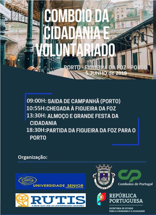 Cartaz alusivo ao Comboio da Cidadania e Voluntariado